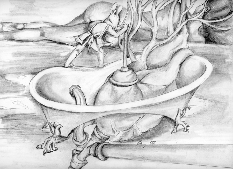 On the rim of a claw foot tub, a little rabbit in an apron is pushing a plunger with all her might to suction an over-sized human heart held by the tub. The open bottom leads to heavy metal pipes reaching out of the picture plane from the foreground. From the top of the heart in the tub, lead a series of arteries and veins that act as connective plumbing to a figure in the far distance-- a mountain range in the landscape or a reclined woman? The only source of liquid appears to be a large puddle that perfectly reflects a blue sky with puffy, white clouds.