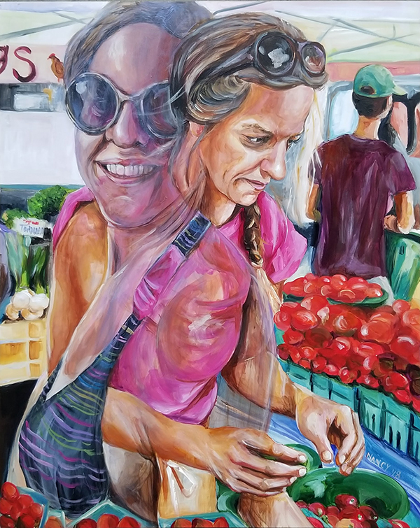 A young woman with sandy hair & pink t-shirt arranges tomatoes on a table at a farmers market underneath a white tent with a ghost image of herself in a black bikini & sunglasses entwined with her present self.