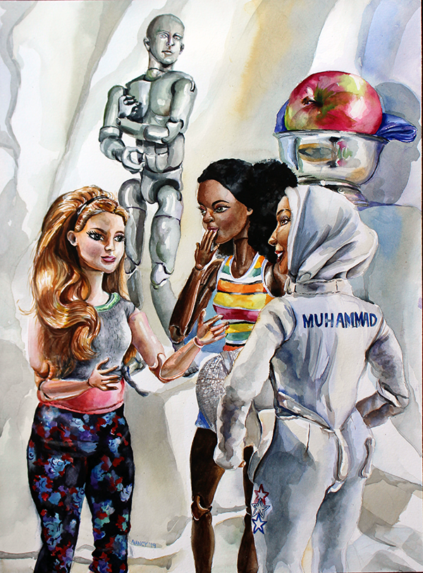 Three Women/Dolls, stand in conversation with one another. In the background stands a grey male mannequin and a pink lady apple in a silver bowl.