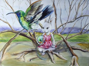 A rabbit in a pink apron with orange polkadots sits at the center of branches in a bare March landscape. She holds a marble in her hand as a humming bird flies away overhead.