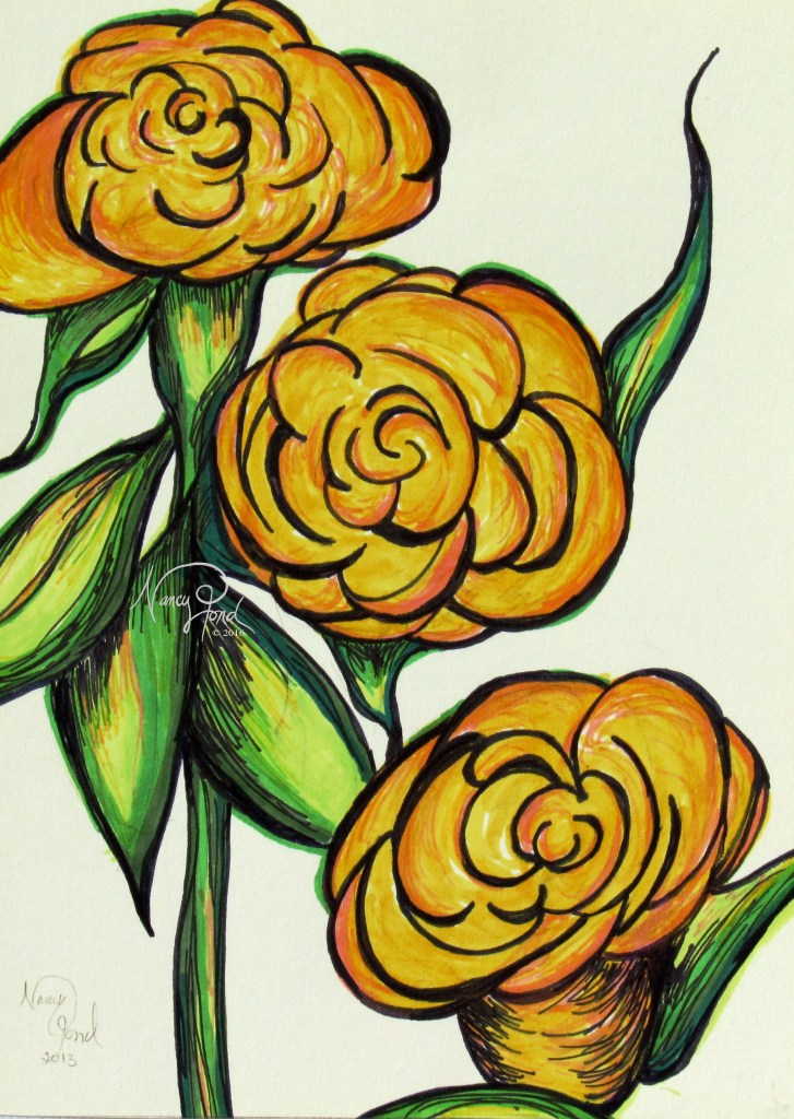 """3 Yellow Roses"" Ink on Paper (2013 5x7 -- In Private Collection)"