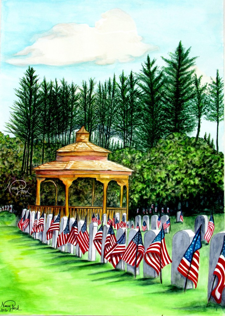 """""""NH State Veteran's Cemetery"""" Watercolor on Paper (2016 16x20)"""
