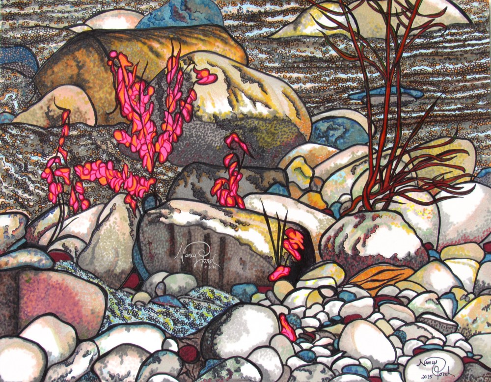 """Stones Flow NH"" Watercolor and Ink on Paper (2015 11x14 -- In Private Collection)"
