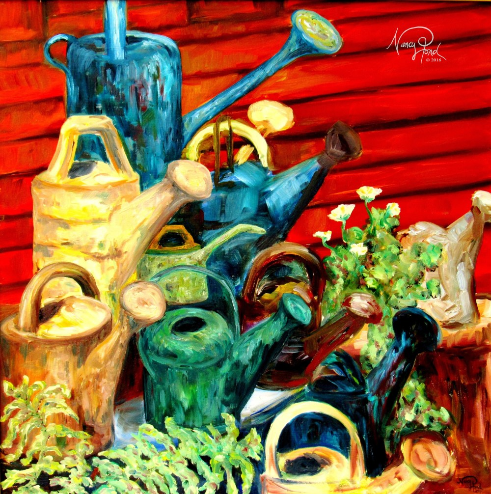 """Water Cans"" Oil on Canvas (2011 17x14 -- In Private Collection)"
