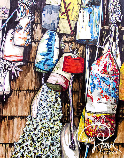 """""""Retired Buoys"""" Watercolor and Ink on Paper (2015 11x14 -- In Private Collection)"""