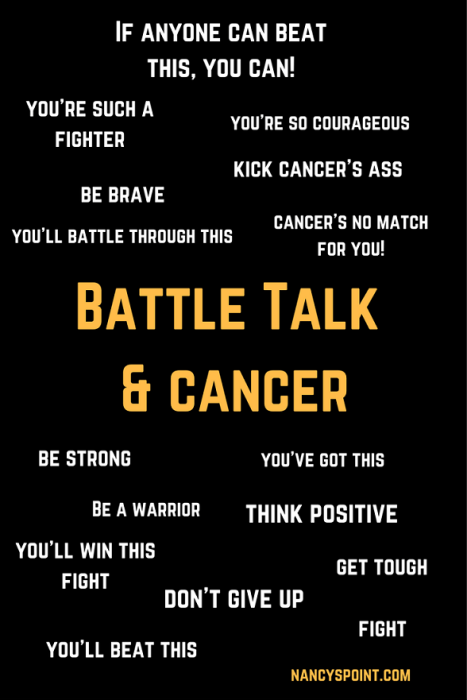 Is there too much war talk in Cancer Land?