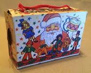 paper candy boxes with string handles...one per child.