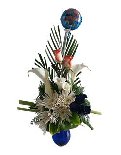 Detalle floral con calas y rosas