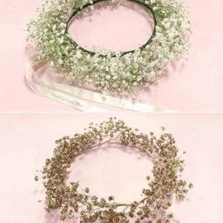 Diadema floral con gipsofilia