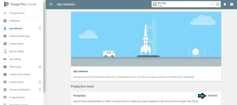 Click on Manage at the Production track.