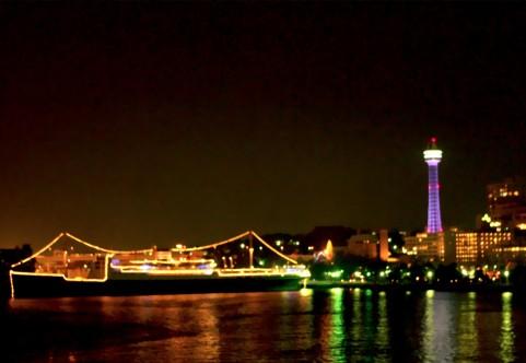 氷川丸とマリンタワーの夜景