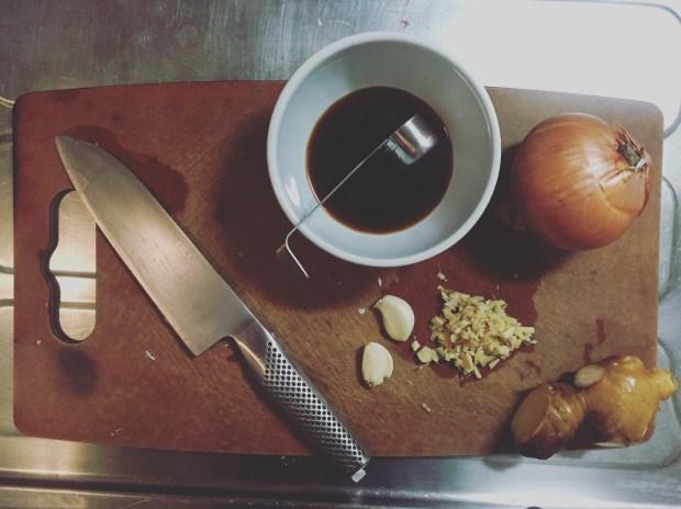 ingredients for buta no shogayaki, grilled pork with ginger