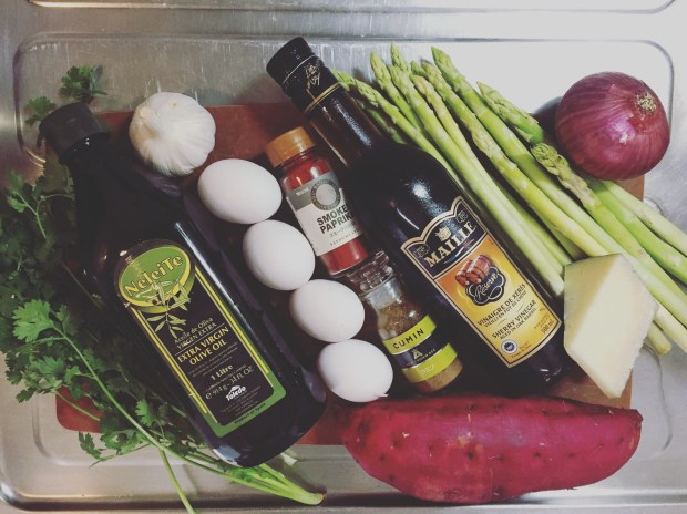 ingredients for sweet potato and manchego tortilla with coriander mojo by cle-ann