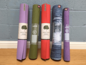 Yoga Mats: made from sustainable products and manufactured in the US, with durable material from Jade and Manduka ($40-$79). Available in various colors for moms looking to purchase high-quality, non-slippery mats for awhaile. Also, ask our front-desk staff for recycle mat program details, benefiting non-profit community organizations!