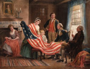 Jennie Brown's painting. Examining the Flag
