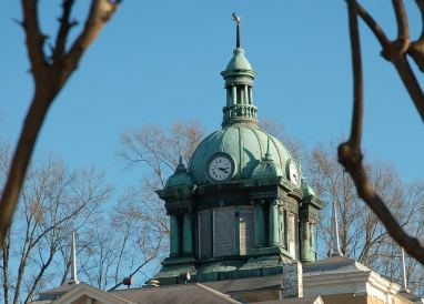 Before restoration began, the dome's oxidized copper was green.