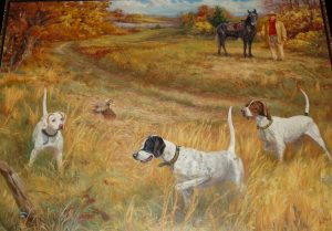 """This painting by Nashville artist Helen Nash is titled """"Training Day at Cotton Plant."""" It hung for several years at the national bird dog museum in Grand Junction, TN before coming to Patterson Pointe Lodge. The dogs are, left to right, Fiddlers Pride Iris, Crude Rooster Vail, and Bad Jazz. Patterson is in the upper right corner with his horse Banjo."""