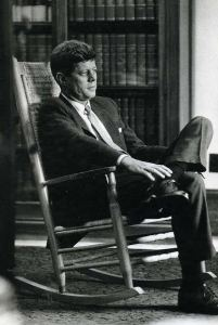 President John F. Kennedy in his famous rocking chair