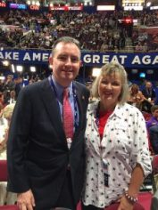 Dr. Jason Dees, of New Albany with Sue Morrisson at the Republican convention 7-19