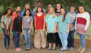 Pictured are the Early Childhood and Education II class.   Front Row Left to Right: Jaybreunna Young, Juanita Gomez, Anna Claire Pannell, Elizabeth Holland, and Beth Medlin Back Row Left to Right: Deja Hasan, Destany Stevenson, Breanna Pennington, Reggie McWilliams, Arianna Golden, Gracie Lansdell, Sara Grace Wise, and Jenna Steward.  Not pictured: Layne Goode