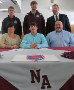 NAHS Bulldog soccer player, Joseph Rainey, signed to play with Itawamba Community College on November 1. Pictured front row l-r: Martha Rainey, Joseph Rainey, and David Rainey; back row l-r: NAHS Assistant Coach Bert Anderson, NAHS Head Coach Caryl Vogetl, and NAHS Athletic Director Shane Sanderson.