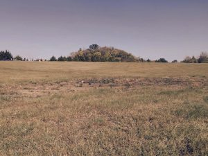 This photo illustrates the sharp rise of the man-made mound from the surrounding flat terrain.