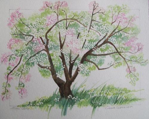 technique de peinture cerisier du japon