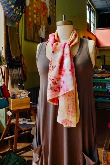 Nan Leaman Hand Made & Hand Dyed Fashion Accessories at Momo in Seattle. Photo courtesy Momo
