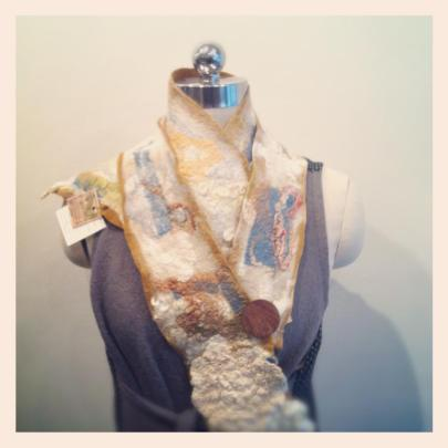 Wool, silk and fibre scarf