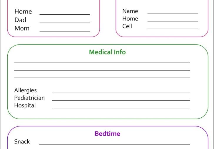 Babysitter Information Form