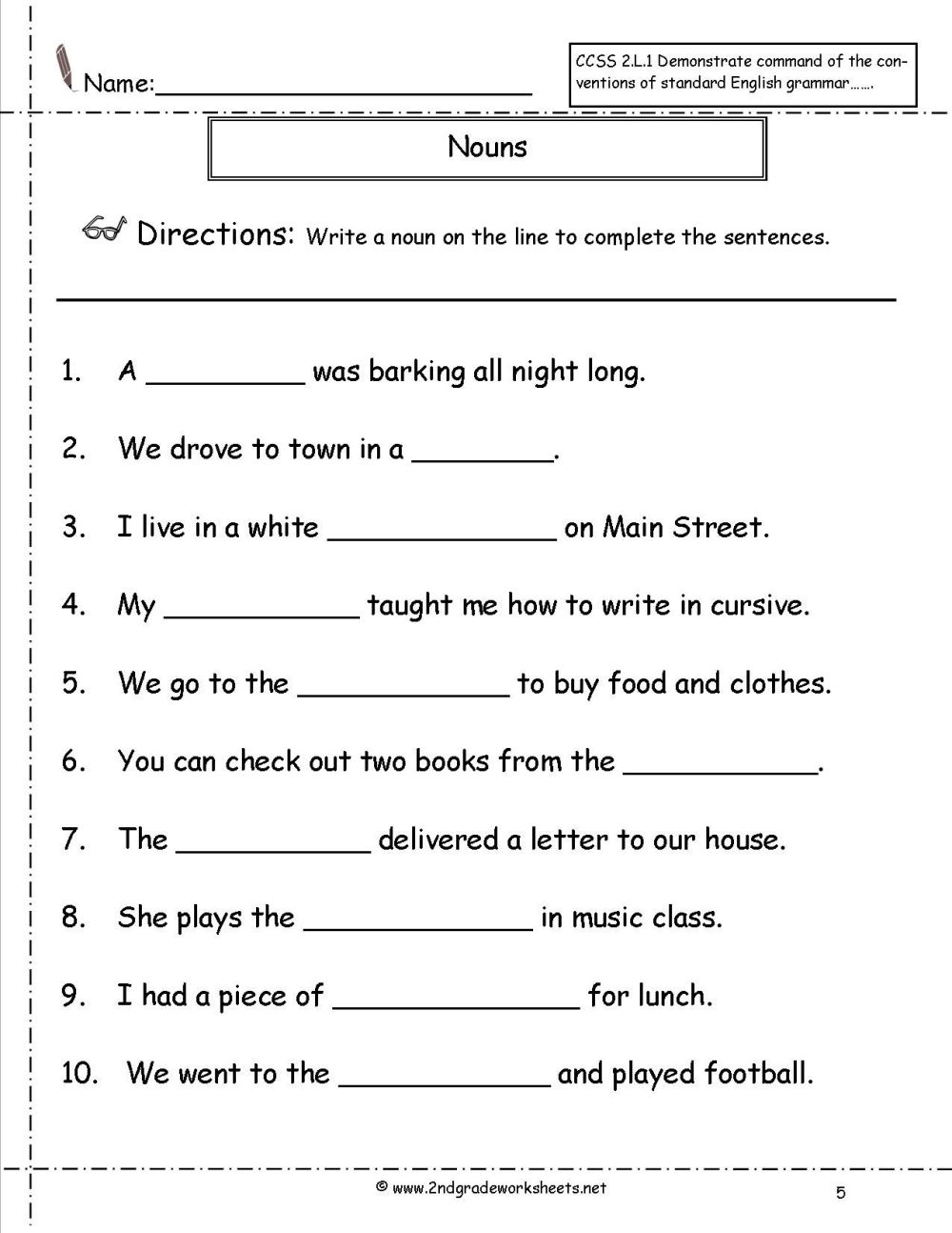 medium resolution of English Grammar Noun Worksheet For Grade 1 Elegant Nouns Worksheets on Best  Worksheets Collection 7422