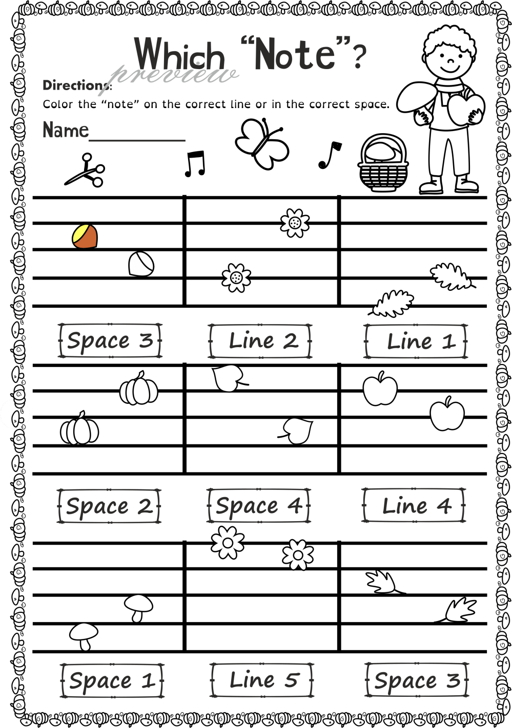 medium resolution of Fall Music Worksheets Pack (line-space