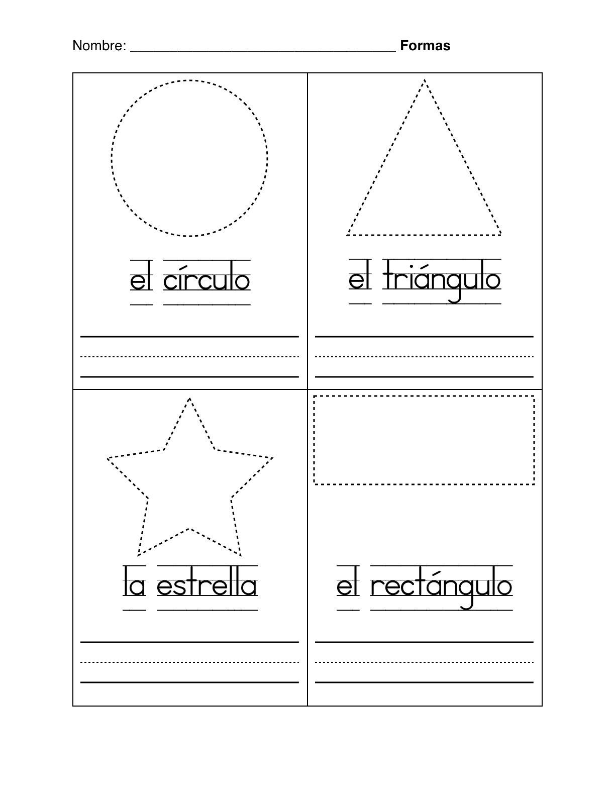 hight resolution of Spanish Worksheets For Kindergarten   Basic Shapes In Spanish on Best  Worksheets Collection 4185