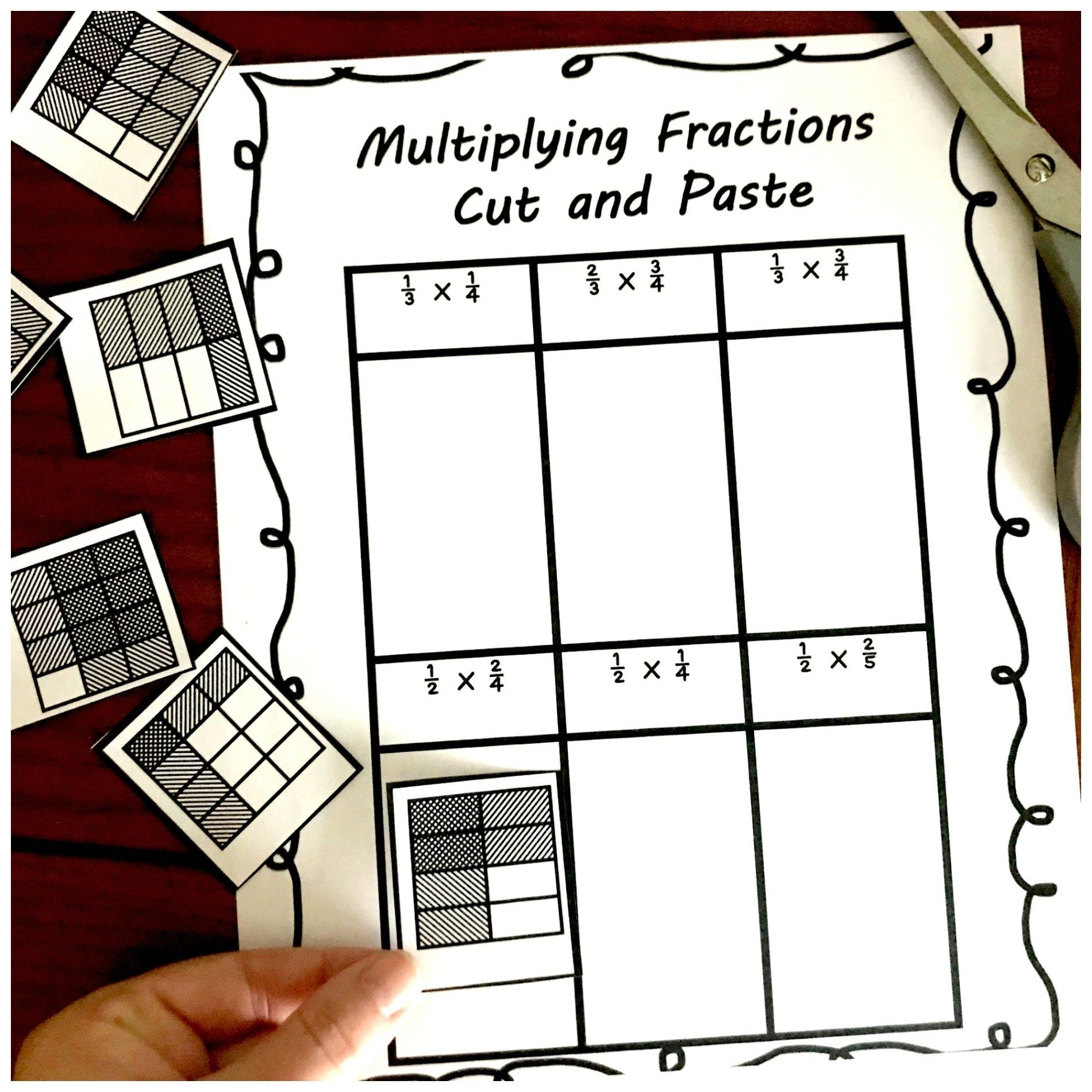3 Cut And Paste Worksheets For Multiplying Fractions