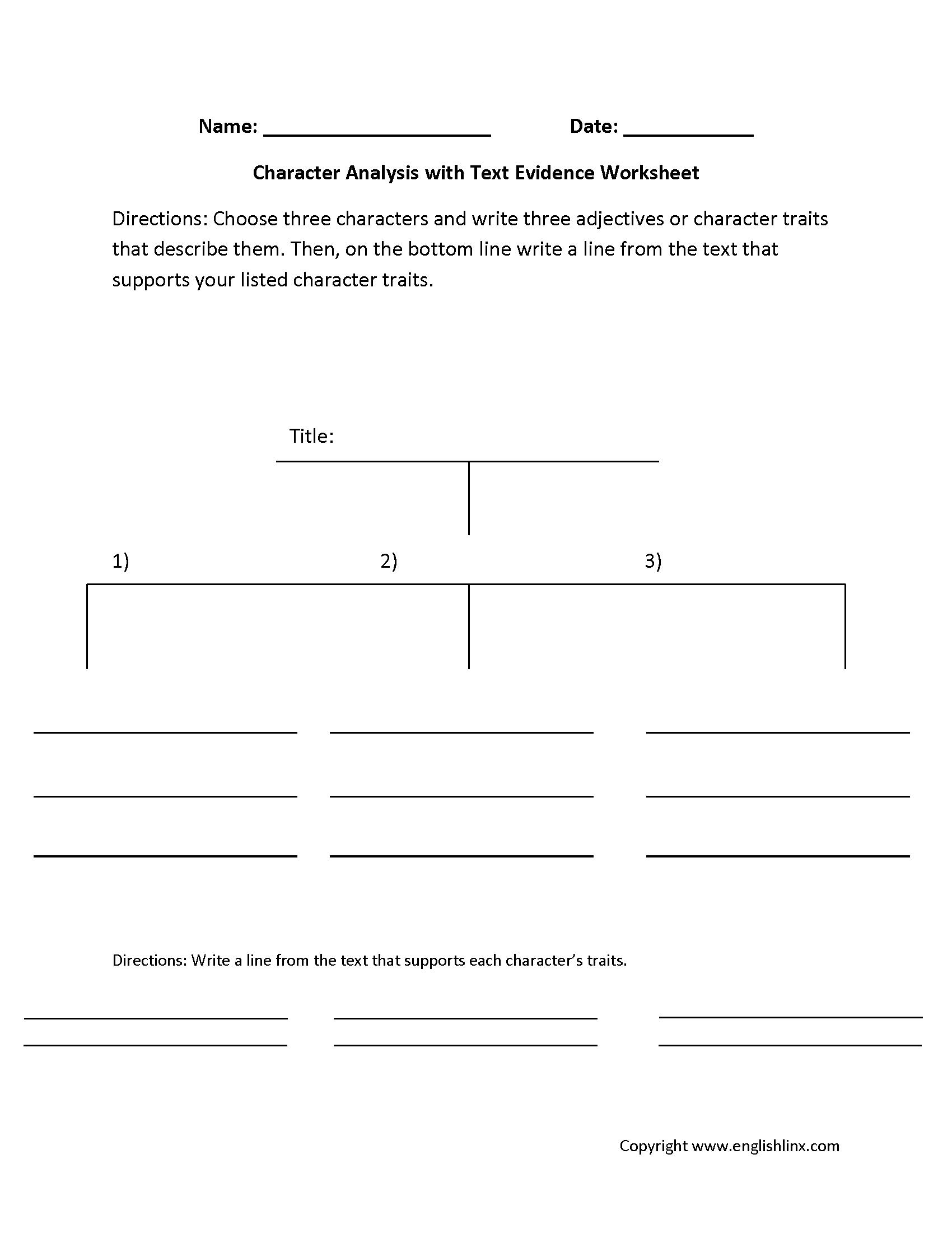 Characterysis Text Evidence Worksheets