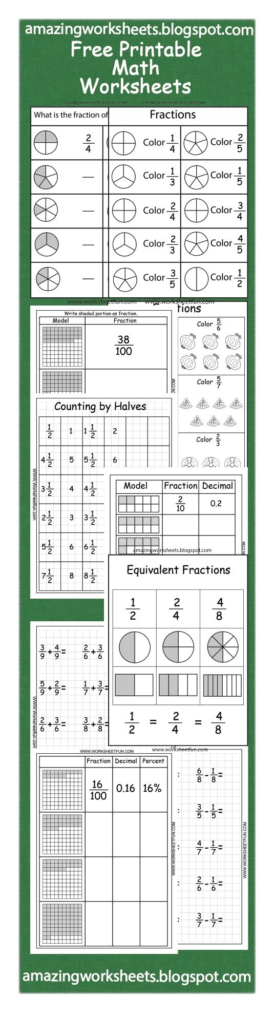 medium resolution of Free Printable Fractions Worksheets By Valeria   Grade 7 Math on Best  Worksheets Collection 84
