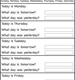 Days Of The Week Worksheets   Grade 1   Teaching English [ 1800 x 1219 Pixel ]