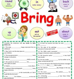 Phrasal Verbs Bring   English   Verb Worksheets [ 1440 x 1018 Pixel ]