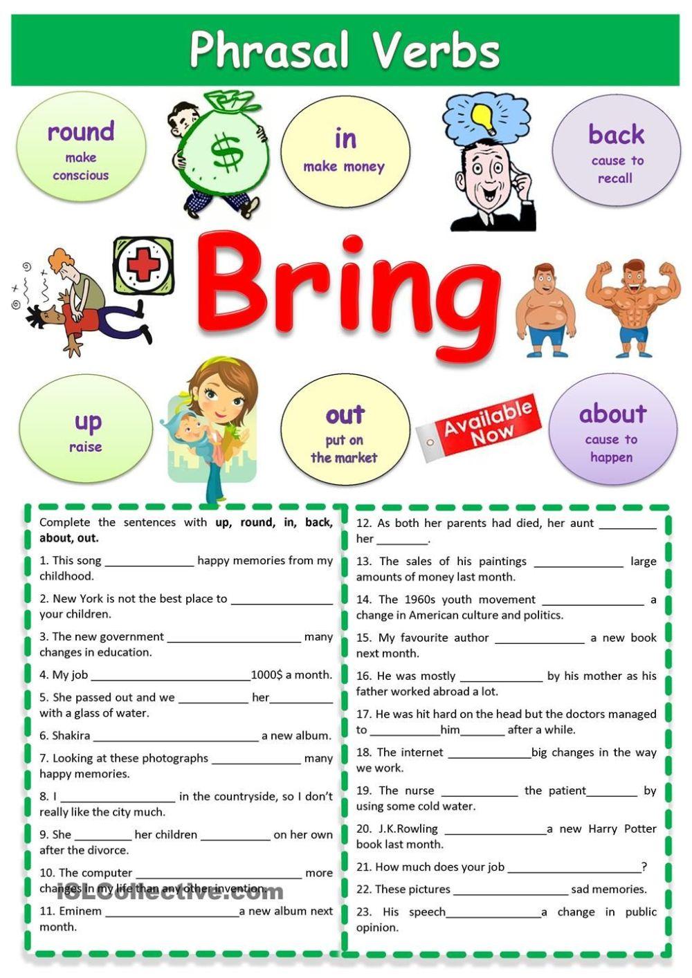 medium resolution of Phrasal Verbs Bring   English   Verb Worksheets