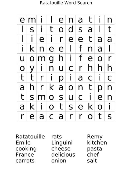 "small resolution of Ratatouille Word Search Worksheet   Free Math Worksheets   1""1 on Best  Worksheets Collection 8770"