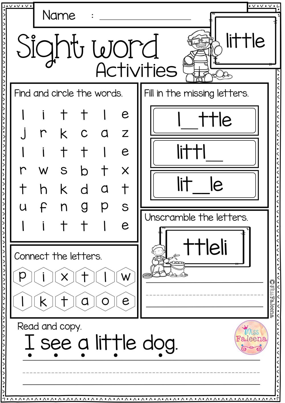 medium resolution of Sight Word Activities (pre-primer)   Rt   Sight Word Worksheets on Best  Worksheets Collection 2052