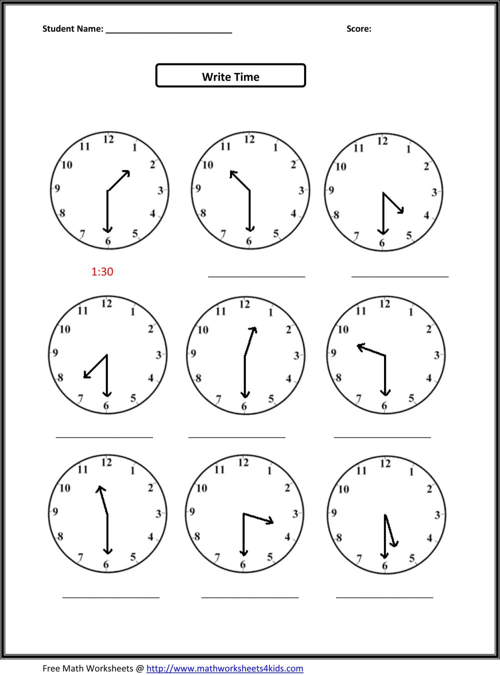 medium resolution of Second-grade-math-worksheets-telling-the-time-oclock-half-quarter-3 on Best  Worksheets Collection 8007