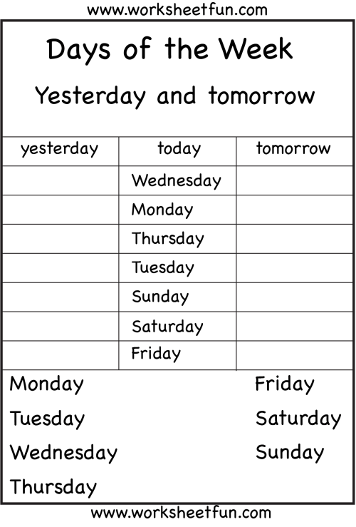 small resolution of Days Of The Week Worksheets 1⪠Eval   Calendar   Kids English on Best  Worksheets Collection 5686