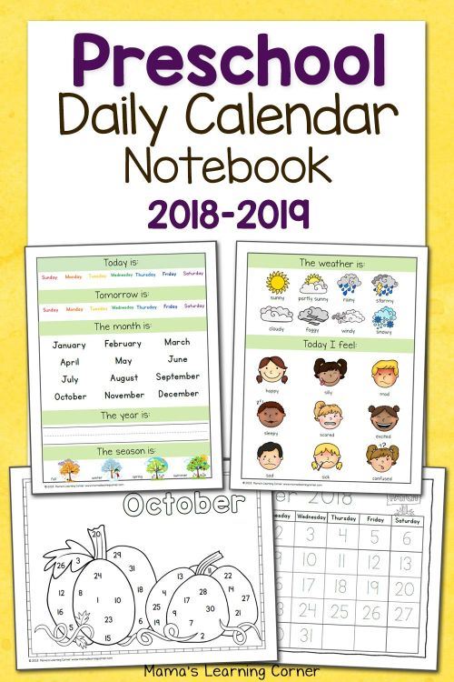 small resolution of Preschool Calendar Notebook   Worksheets \u0026 Printables For Pre-k To on Best  Worksheets Collection 628