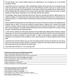 Isaac Newton - Reading Worksheet - Free Esl Printable Worksheets on Best  Worksheets Collection 3277 [ 1079 x 763 Pixel ]