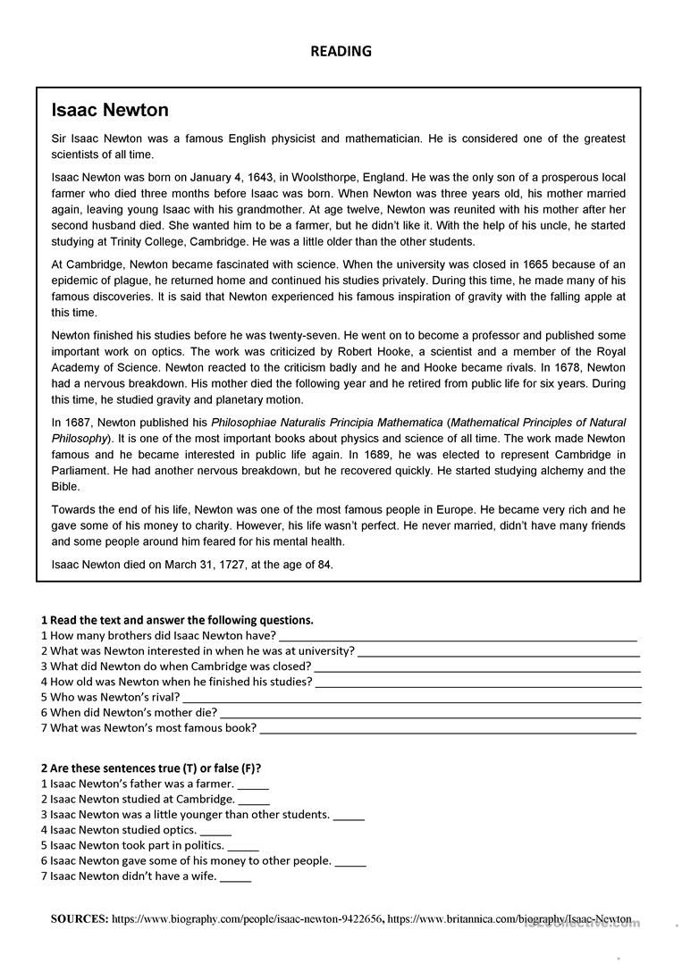 hight resolution of Isaac Newton - Reading Worksheet - Free Esl Printable Worksheets on Best  Worksheets Collection 3277