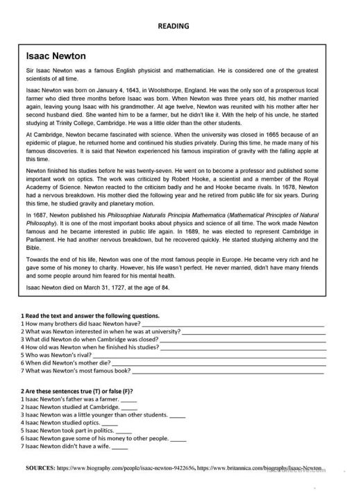 small resolution of Isaac Newton - Reading Worksheet - Free Esl Printable Worksheets on Best  Worksheets Collection 3277