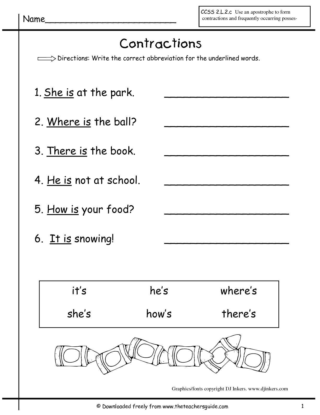 11 Best Contraction Worksheets Images On Best Worksheets