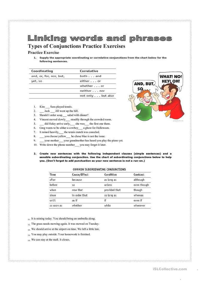 hight resolution of 7 Best Conjunctions Worksheets images on Best Worksheets Collection