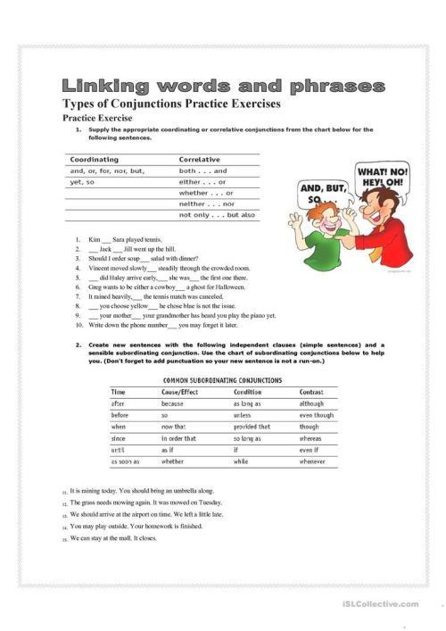 small resolution of 7 Best Conjunctions Worksheets images on Best Worksheets Collection